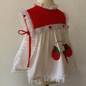 Vintage strawberry red pinafore